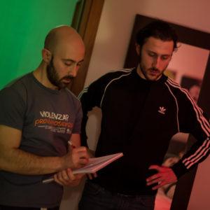I fratelli Flavio e Massimo Bulgarelli durante le riprese di Eyes of The Dying Stars il nuovo video degli Hate Inc